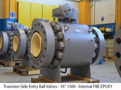 """Trunnion Side Entry Ball Valves - 16"""" 1500 - Internal FBE EPOXY coated"""
